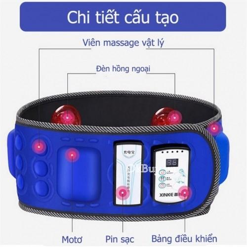 Đai massage giảm mỡ bụng X6 pin sạc hồng ngoại - 6 moter