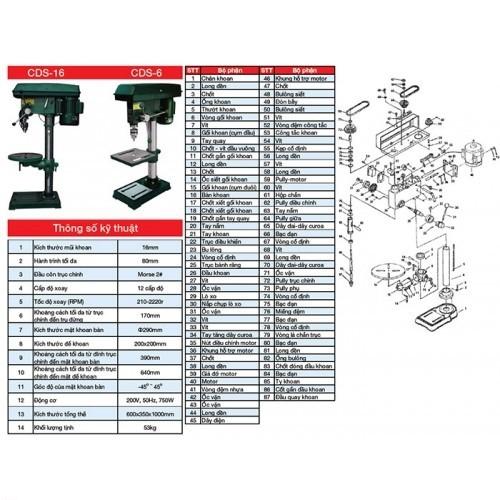 Máy khoan bàn vuông Drill Press CDS-6 - 0.5HP