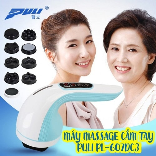 Máy massage cầm tay dùng pin sạc 8 đầu Puli PL-607DC3 - Korea