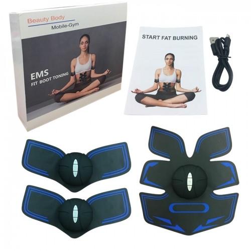 Máy massage xung điện tập cơ bụng GYM 6 múi pin sạc - Xanh