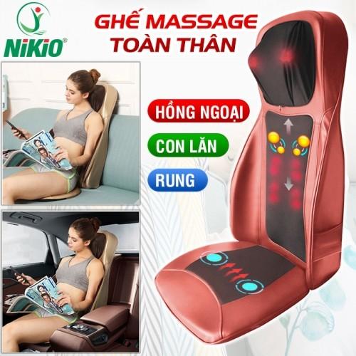Ghế đệm massage lưng hồng ngoại ô tô Nikio NK-180