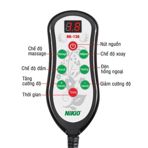 Máy (gối) mát xa xoa bóp trị đau mỏi cổ vai gáy Nikio NK-136DC - Pin sạc