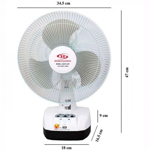 Quạt sạc điện đứng HONJIANDA HJD - FL301 LED - 2 Bình