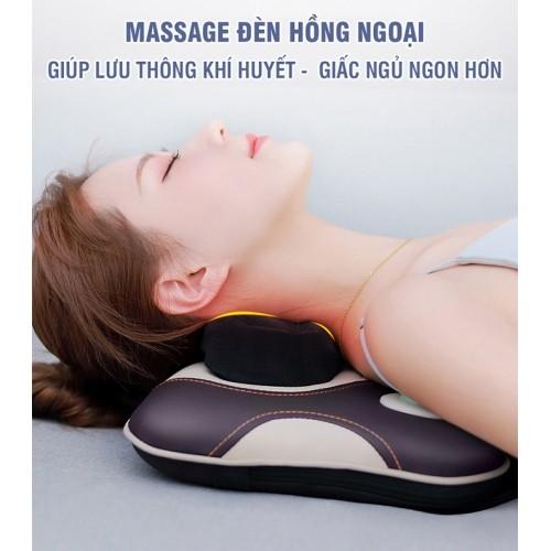 Gối massage đấm và xoa bóp cổ vai gáy Nikio NK-136AC