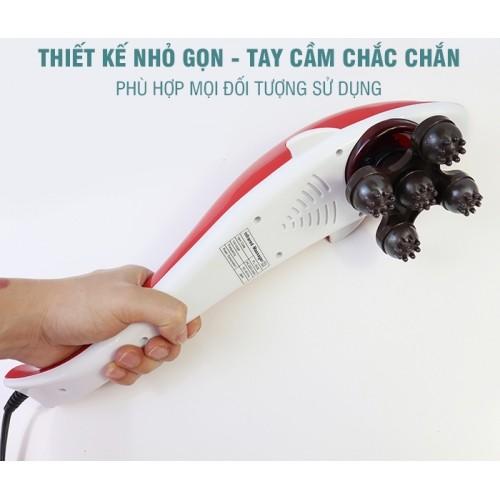 Máy massage cầm tay cá heo 6 đầu PULI PL-608B - Mẫu mới, đỏ