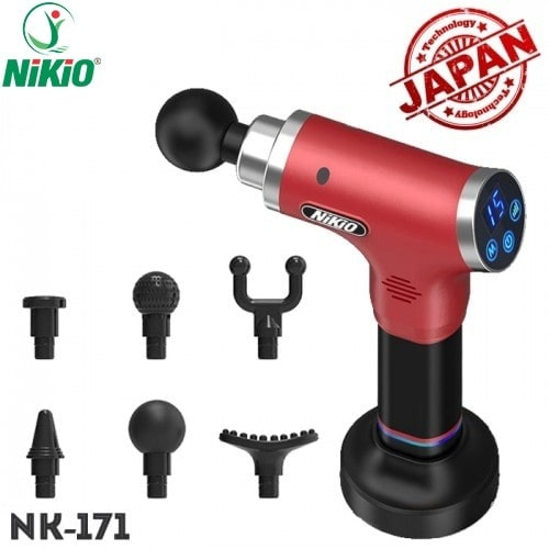 Súng massage gun Nhật Bản Nikio NK-171 - Đỏ tím - 6 đầu, 5 chế độ