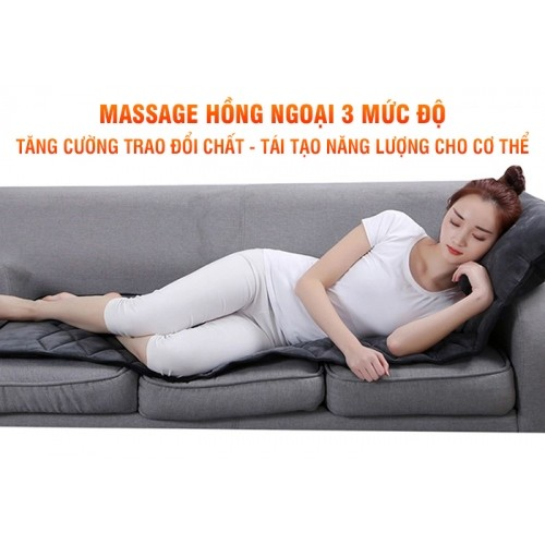 Nệm massage toàn thân hồng ngoại có gối mát xa cổ Nikio NK-151