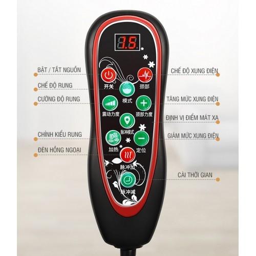 Nệm massage rung toàn thân và nhiệt nóng YIJIA YJ-306J - 9 kiểu rung, xung điện cổ