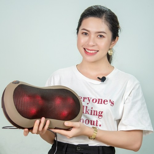 Gối massage ô tô hồng ngoại Hàn Quốc Puli PL-819C - 6 bi