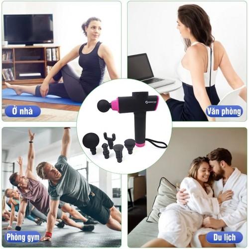 Súng massage cầm tay cao cấp 6 đầu Booster X3 - Pin sạc, 126W