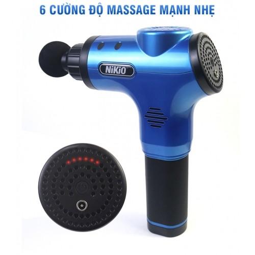 Súng massage cầm tay Nikio NK-170A - 4 đầu, 6 tốc độ, màu xanh dương