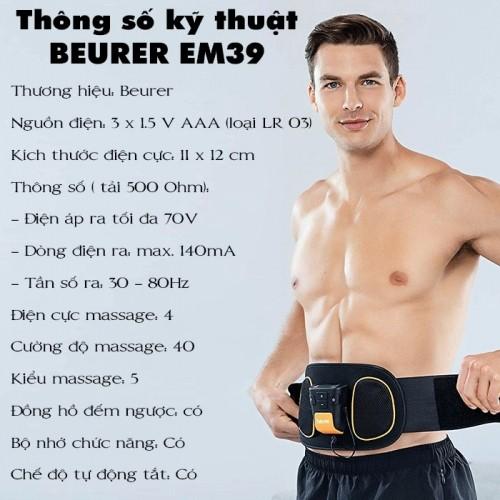 Đai massage tập cơ bụng và lưng Beurer EM39 - Đức