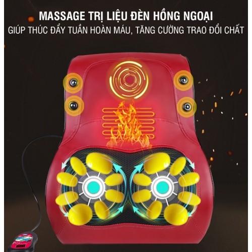 Đệm massage lưng ô tô xoay xoa bóp, rung và nóng YIJIA YJ-M6