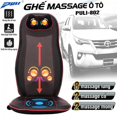 Ghế đệm massage ô tô toàn thân hồng ngoại Puli PL-802 - 48W