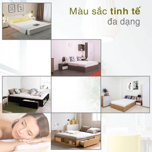 Giường ngủ gỗ công nghiệp MDF 1m8 x 2m - Có 2 ngăn kéo và kệ sách đuôi giường