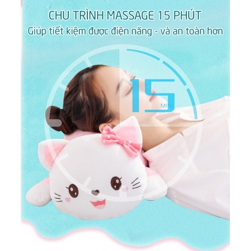 Gối nằm massage cổ vai gáy hồng ngoại pin sạc hello kitty YJ-68