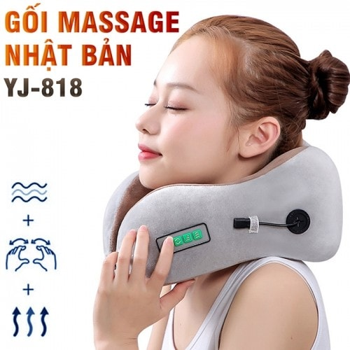 Gối ngủ massage trị đau mỏi cổ khi đi máy bay, tàu xe Nhật Bản YJ-818