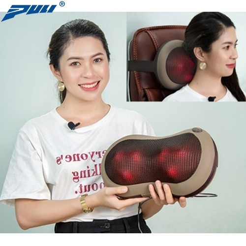 Gối massage hồng ngoại 6 bi cao cấp Puli PL-819C - Mát xa cổ vai gáy, lưng