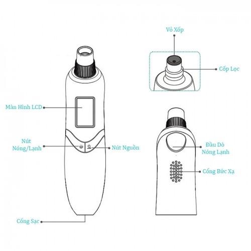 Máy hút mụn kết hợp đầu massage nóng lạnh Binzim BZ-0720 - Dòng cao cấp
