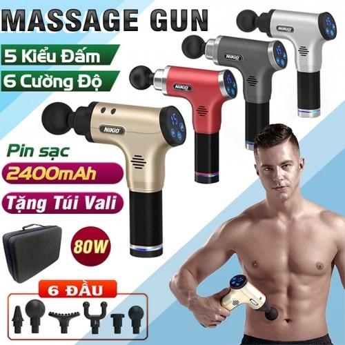 Máy massage cầm tay pin sạc Nikio NK-171 -  6 đầu, 6 tốc độ và 5 chế độ mát xa