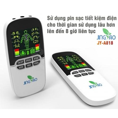 Máy massage xung điện pin sạc 8 miếng dán đèn hồng ngoại JINGYAO JY-A818
