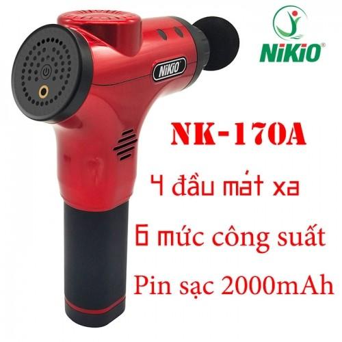 Súng massage cầm tay Nikio NK-170A - 4 đầu, 6 tốc độ, màu đỏ