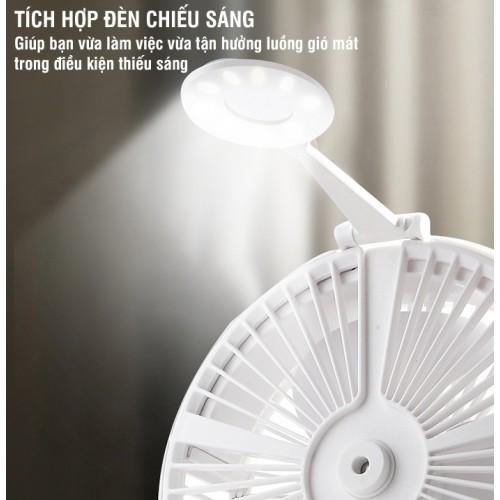 Quạt sạc phun sương để bàn có đèn gấp gọn đa năng H9
