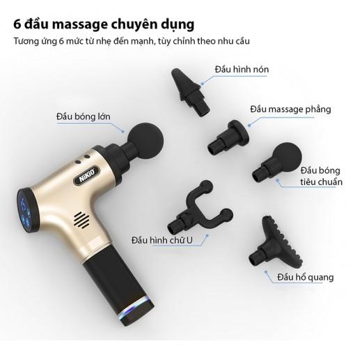 Súng massage gun trị đau mỏi cơ Nhật Bản Nikio NK-171 - Gold
