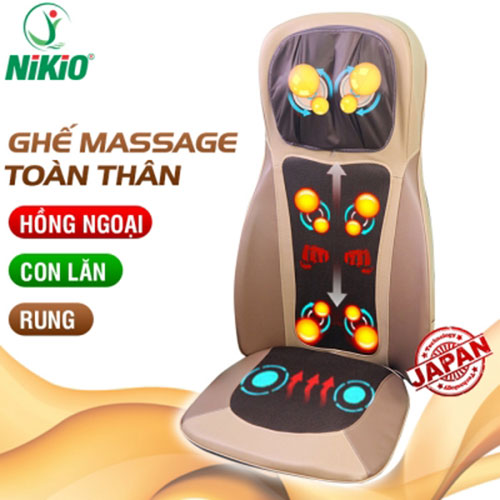 Video ghế massage lưng, cổ, mông xoa bóp day ấn rung, nhiệt hồng ngoại nikio nk-180 - giải pháp thư giãn cơ thể tại nhà