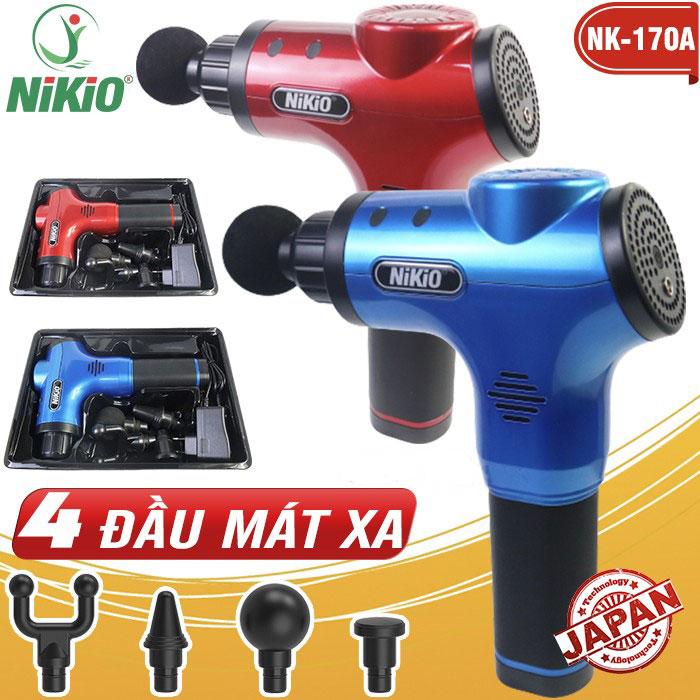 Video Súng massage cầm tay Nikio NK-170A - 4 đầu, 6 tốc độ, giảm đau cơ nhanh