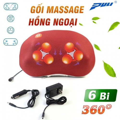 Video gối massage hồng ngoại điều trị đau mỏi cổ 6 bi Puli PL-817B - Mẫu mới