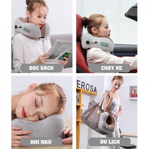 video gối ngủ massage khi đi tàu xe, máy bay nhật bản yj-818, giúp ngủ nhanh hơn ngon hơn