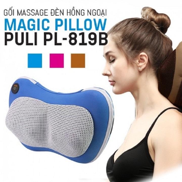 gối massage hồng ngoại 6 bi magic pillow puli pl-819b - xua tan mệt mỏi, thư giãn tại nhà